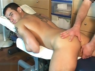 dick Dick and ass massage by 2 guys to an innocent delivery guy ass
