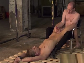 restrained Restrained young blond jerked off by dominant male blond