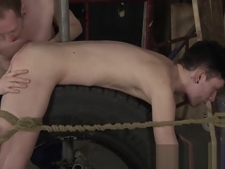 bound Bound slave Xavier Sibley anally fingered and roughly fucked slave