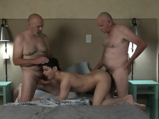 fucked Young Fucked by two old men II men