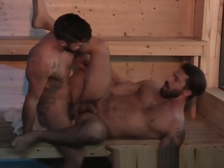 ragingstallion RagingStallion Hot Hairy Daddy Adam Ramzi Fucked In Sauna hairy