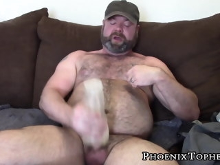 hardcore Hardcore bear in jockstrap fingers ass in jerking off solo bear