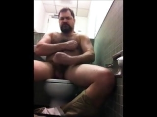 hairy Hairy Bear Solo in Public Toilet bear