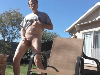 filming Filming myself cumming in the backyard myself