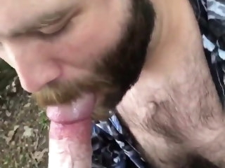 hairy Hairy otter sucking cum outside otter