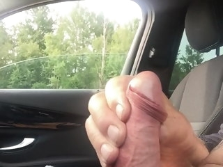 cum my cum in the car at the picnic spot in public car