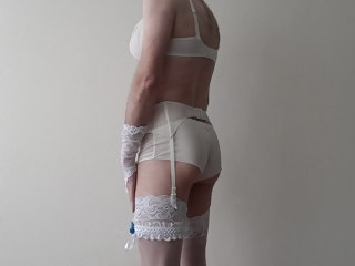crossdresser Crossdresser wearing bridal lingerie wearing
