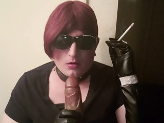sissy Sissy smoking and practicing sucking cock in leather gloves smoking