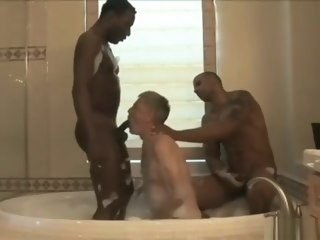black Two young black muscle studs spitroast Old Grandpa muscle