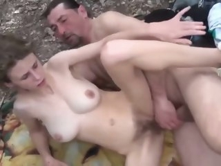 hairy Hairy daughter with big boobs loves her daddy in the woods daughter
