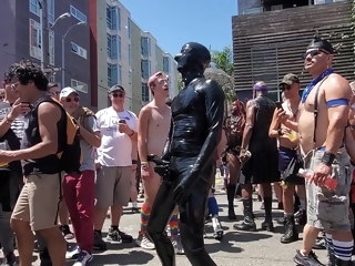 cumming Me cumming loudly in public in latex at Dore Alley Fair 2019 loudly