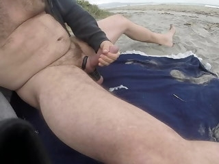 jacking Jacking off in the evening at Blacks Beach evening