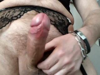 crossdresser crossdresser handsfree cumshot on stockings handsfree