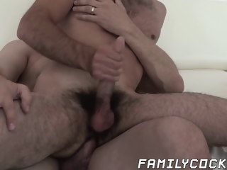 mature Mature daddy barely fits his fat cock into stepsons ass daddy