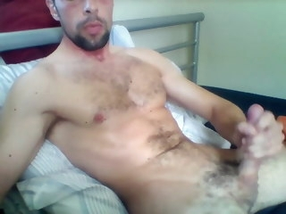 muscle Muscle Hairy Guy Sprays His Body hairy